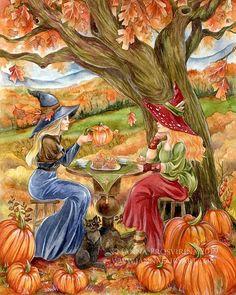 Archival quality art print fantasy mermaid fairy art by Janna Prosvirina Fantasy Drawings, Fantasy Artwork, Fantasy Witch, Mermaid Fairy, Elves And Fairies, Halloween Painting, Autumn Art, Watercolor Artwork, Fairy Art