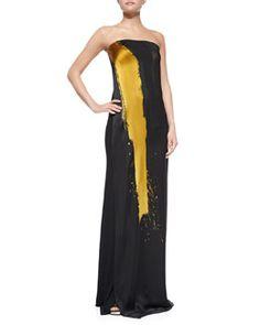 B2LLE Donna Karan Printed Strapless Column Gown, Black/Gold