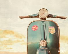 Vespa Photo, Retro Print, Vintage Style, Vespa Art, Wall Decor, Boys Room Decor, Nursery, Mod Style - Blue Vespa