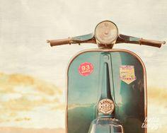 Vespa Photo, Retro Print, Vintage Style, Vespa Art, Wall Decor, Boys Room Decor, Nursery, Mod Style - Blue Vespa