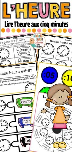 Apprendre à lire l'heure aux cinq minutes - Cette ressource contient des activités variées pour travailler ce concept mathématique. #frenchtellingtime #heure French Teaching Resources, Teaching French, Teaching Tips, Teacher Resources, High School French, French Class, Movie Talk, French Teacher, Learn French