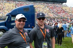 Jimmy Howard and his father kick off the Quicken Loans 400 on Father's Day 2012.