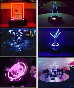 neon centerpieces that are illuminated