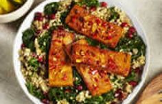 Kale and Ancient Grains Salad with Citrus Marinated Tofu The uplifting citrus and chilli flavours of the marinade compliment the wholesome mix of grains and pomegranate seeds to make this dish a nutritious and flavoursome lunch or dinner, the perfect balance of protein and fibre.  Best served warm!