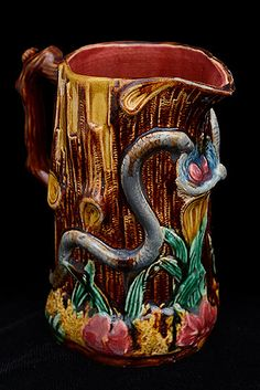 French Majolica Pitcher decoated with trees and snakes