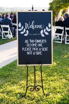 'Pick a seat not a side': http://www.stylemepretty.com/texas-weddings/austin/2015/03/03/chic-lakeside-wedding-at-vintage-villas/ | Photography: Cory Ryan - http://www.coryryan.com/