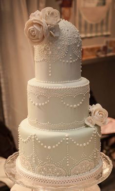 Vintage lace and roses wedding cake in powder blue... I'd like the flowers to be smaller and in different locations on this one