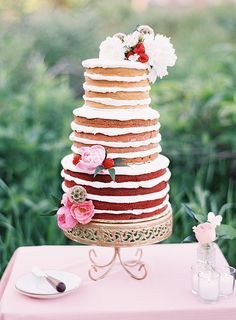Ombre Naked Cake with Fresh Summer Flowers in Shades of Pink! | Emily Jane Photography - http://heyweddinglady.com/best-wedding-cak…ssert-ideas-2015/