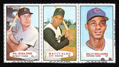 1967 Bazooka Baseball Complete 3-card Panel with Al Kaline and Billy Williams