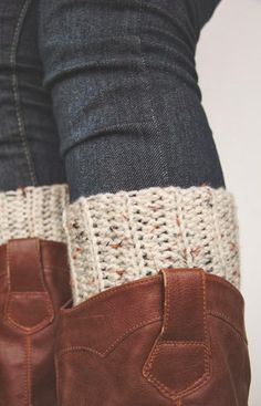 A Town Girl's Life: Crocheted Boot Cuffs | I would like to do this if I had boots I could wear it with, and also if I understood the instructions..