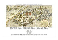 ISLANDIA, 1991 Hoja recuerdo. Carta marina que muestra con detalle el territorio de Islandia. La labor cartográfica era inmensa e incluía, entre otras muchas cosas, darle nombre a las tierras y lugares conquistados, como el mismo continente de América.