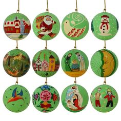 Christmas Tree Ornaments Parrot Green Decor Paper Mache Balls Set of 12  http://www.amazon.com/gp/product/B00KFD92CE