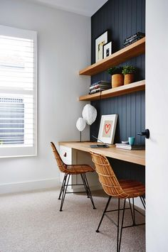 modern simple home office, floating desk and shelves, modern chairs, vertical paneling, dark paint