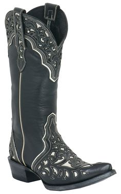 These babies are definitely on my Christmas wishlist--Ariat® Presidio™ Ladies Black w/ Ornate White Inlay Pointed Toe Western Boot | Cavender's Boot City