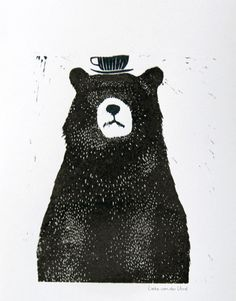 LIEKELAND-LINOCUT-BEAR WITH TEA CUP