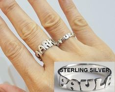 Personalized Name Jewelry Name Necklace Name by Name Ring - Stacking Rings - Stackable Name Ring - Custom Name Ring - Personalized Ring in Sterling Silver - Nameplate Ring Baguette Diamond Rings, Diamond Cluster Ring, Diamond Pendant, Engagement Rings 4 Carat, Stackable Name Rings, Rainbow Quartz, Thing 1, Name Jewelry, Name Bracelet