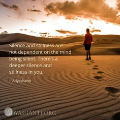 """Silence and stillness are not dependent on the mind being silent. There's a deeper silence and stillness in you. Spiritual Enlightenment, Spiritual Awakening, Spiritual Quotes, Spiritual Thoughts, Spiritual Life, Meditation Benefits, Mindfulness Meditation, Light Quotes, Deep Quotes"