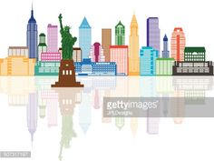 New York City Skyline with Statue of Liberty Color with Reflection Vector Illustration