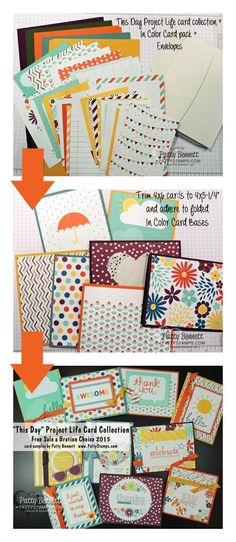 Turn Project Life cards into Greeting Cards in a snap with Stampin' Up! cut and ready card bases, a pack of envelopes and some adhesive! by Patty Bennett Project Life Layouts, Project Life Cards, Card Sketches, Journal Cards, Paper Cards, Cute Cards, Homemade Cards, Stampin Up Cards, Making Ideas