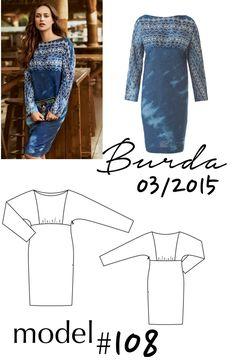 Sukienka z naszywkami uszyta z Burdy 03/2015 model 108 Burda Patterns, Op Art, Kimono, Polyvore, Blog, Image, Fashion, Moda, La Mode