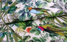 Stoff Blumen - Jersey Tim Digitaldruck VÖGEL - ein Designerstück von Wolke7-Stoffe bei DaWanda