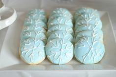 Snowflake cookies at a Frozen Birthday Party!  See more party ideas at CatchMyParty.com!