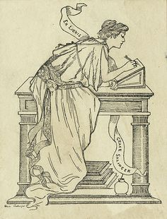 'Ex Libris Grace Salinger;' depicts a woman leaning on a desk and writing with a quill. A stack of books and inkwell are located under the desk.