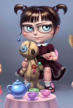 Anime Chibi, Manga Anime, Voodoo Doll Tattoo, Voodoo Dolls, Character Illustration, Illustration Art, Art Sinistre, Character Art, Character Design