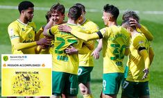 Norwich City earn promotion back to the Premier League after Swansea and Brentford suffer slip ups | Daily Mail Online Norwich City Fc, Slip Up, Brentford, Football Program, Swansea, Premier League, Mail Online, Daily Mail, Promotion