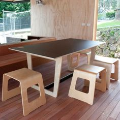 Trestle Dining Table Black