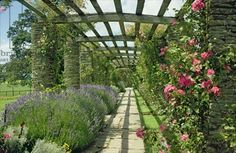 View westwards along the pergola, designed in c.1904-10 by Sir Edwin Lutyens (1869-1944) and Miss Gertrude Jekyll (1843-1932) (photo)