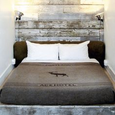 Portland's Ace Hotel, offers tons of beautiful ideas, including this reclaimed wood headboard and sconces. Idea for half wall Cool Headboards, Headboard Ideas, Wall Headboard, Bed Wall, Homemade Headboards, Barn Board Headboard, Headboard Lights, Wooden Headboards, Small Spaces