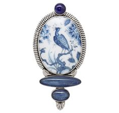 Statements by Amy Kahn Russell Porcelain & Gemstone Sterling Silver Pin/Pendant