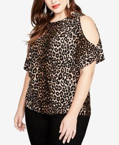 Rachel Rachel Roy Trendy Plus Size Cold-Shoulder Leopard-Print Top - Brown 2X