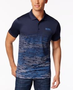 Image 1 of Hugo Boss Men's Paule Pro 2 Cotton Polo Hugo Men, Hugo Boss Man, Polo T Shirt Design, Polo Blue, Men's Polo, Mens Polo T Shirts, Camisa Polo, Mens Fashion, Steampunk Fashion