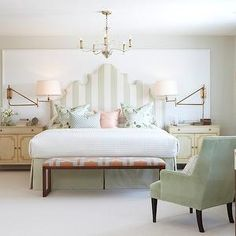 Mint green stripes. In top floor bedroom
