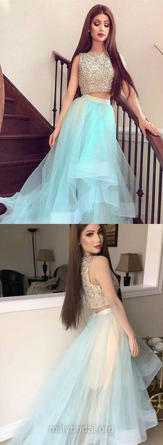 Blue Prom Dresses, Long Prom Dresses, 2018 Prom Dresses Two Piece, A-line Prom Dresses Scoop Neck, Organza Prom Dresses Beading, Modest Prom Dresses For Teens #promdresses