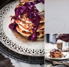 Whole wheat pancakes with blueberry sauce.