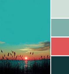 Color Inspiration The vibrant colours of a sunset serve as inspiration for a colour palette. Scheme Color, Color Palate, Colour Schemes, Color Combinations, Bedroom Turquoise, Coral Turquoise, Colour Board, Bathroom Colors, Bedroom Colours