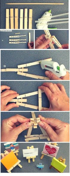 easy and very cheap to make a mini easel from clothespins. You just need 6 clothespins, 1 stick and wood glue.