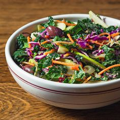 Hearty Tuscan kale, apples, kalamata olives, feta cheese and more get tossed with an oregano and red wine vinaigrette.