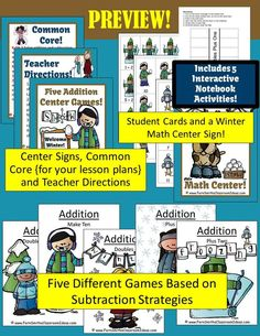 50% Off for First Two Days Winter Fun! Winter Themed Five Addition Centers and Interactive Notebook Activities Each strategy comes with a center game cover, cards, student directions and interactive notebook page for a terrific follow activity. #FREE Math Center sign in FREE Preview. The Five Addition Centers: 1. Doubles 2. Doubles Plus One 3. Plus One 4. Plus Two and 5. Make Ten  #TPT $paid