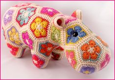 Happypotamus The Happy Hippo. Use up your bits of sock weight yarn for this soft toy. Based on the African Flower hexagon crochet motif.