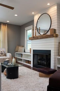 Contemporary and clean to enhance the modern feel of the room fireplace facing. Contemporary and clean to enhance the modern feel of the room fireplace facing. Farmhouse Fireplace, Home Fireplace, Living Room With Fireplace, Fireplace Design, My Living Room, Home And Living, Shiplap Fireplace, Fireplace Ideas, Simple Fireplace