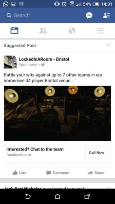 Lockedinaroom ad facebook. Potentially relevant as would use it
