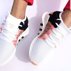 The adidas Originals EQT Racing ADV is a shoe with a strong history and adidas heritage. The sneakers design is inspired by the famous running shoe of the running shoes adidas Originals EQT Racing ADV - White, Pink, Black - SportStylist Doll Shoes, Women's Shoes, Me Too Shoes, Shoe Boots, Louboutin Shoes, Gucci Shoes, Black Shoes Sneakers, Black Adidas Shoes, Dress Shoes