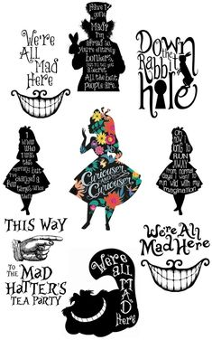 alice in wonderland quotes These sticker are very easy to use and look great! use drop down boxes for all options. Available individually in 3 sizes or. Only for interior use as not waterproof. perfect for walls, furniture any hard smooth surface. Alice In Wonderland Decorations, Alice In Wonderland Tea Party, Alice In Wonderland Printables, Cheshire Cat Alice In Wonderland, Gato Alice, Tattoo Gato, We All Mad Here, Alice And Wonderland Tattoos, Alice In Wonderland Silhouette