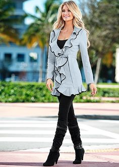 RUFFLE FRONT JACKET, SEAMLESS CAMI, SLIMMING STRETCH JEGGING, SLOUCHY LAYERED STRAP BOOT