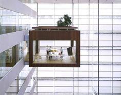 Suspended Meeting Room at NYkredit bank in Copenhagen by Schmidt Hammer Lassen Architects.