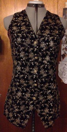 Vintage 80's Bonkers Black Velvet Vest with Gold Floral Print M Festive Holiday | eBay